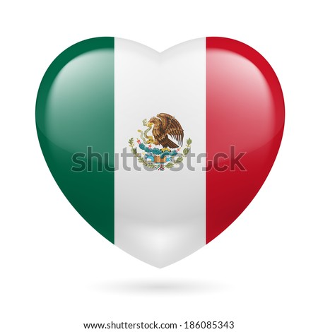 Heart with Mexican flag colors. I love Mexico  - stock vector