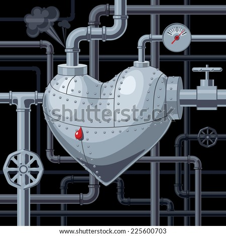 Heart with pipes. Eps8. CMYK. Organized by layers. Gradients free. - stock vector