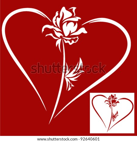heart with rose - design element for Valentine's Day - stock vector