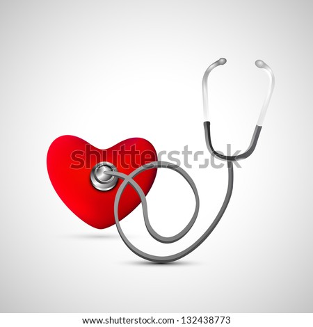Heart with Stethoscope. - stock vector