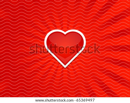 Heart with stripes red background - stock vector
