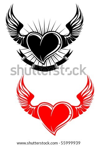 Heart with wings tattoo. Jpeg version also available in gallery - stock vector