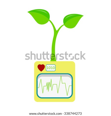 Heartbeat and seedling. Machine with heart rate monitor monitoring a seedling. Isolated. White background. - stock vector