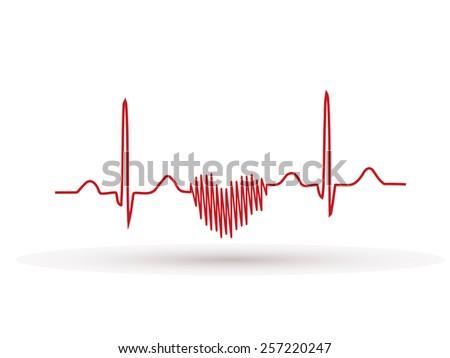 Heartbeat , Frequency, Wave Heart, ekg - stock vector