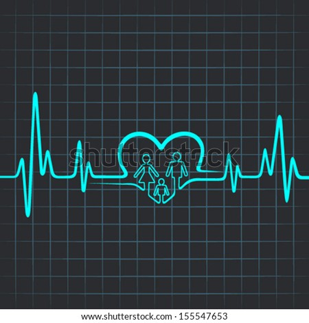 Heartbeat make family icon and heart symbol - vector illustration - stock vector