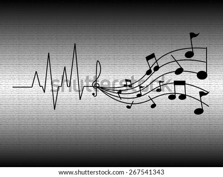 Heartbeat Music - stock vector