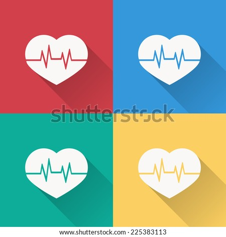 heartbeat sign icon , flat design on 4 color background - stock vector