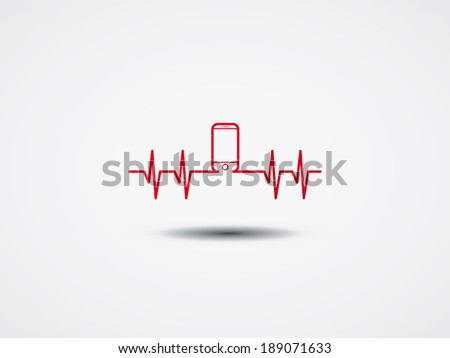Heartbeat with phone symbol. Vector Illustration. - stock vector