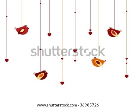 Hearts and birds - stock vector