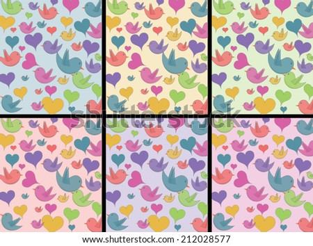 Hearts and birds pattern with 6 different colored backgrounds - stock vector