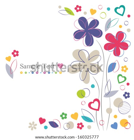 hearts and flowers greeting card - stock vector