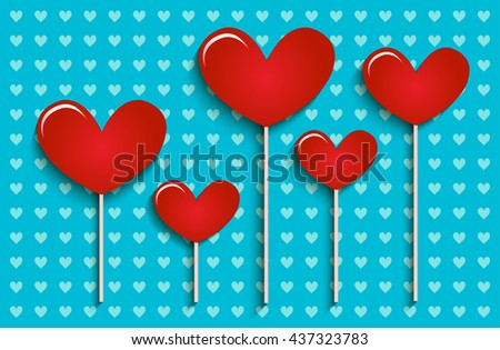 Hearts card design. Can be used for Valentines postcard, wedding invitation, scrapbooking. - stock vector