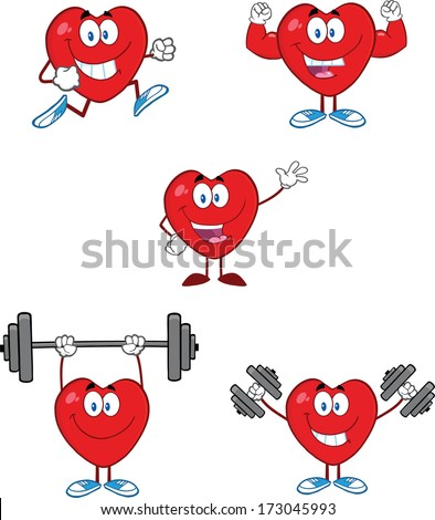 Hearts Cartoon Mascot Characters. Vector Collection Set - stock vector