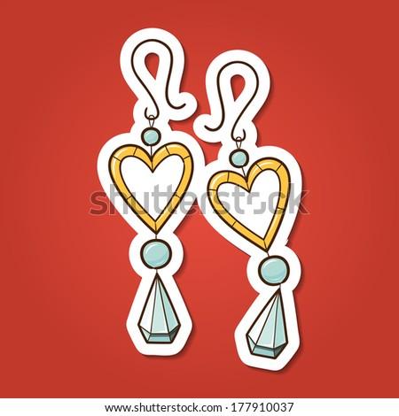 Hearts earrings. Paper sticker imitation. Vector card concept. Romantic tender design - stock vector