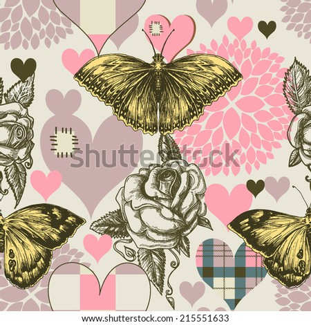 Hearts flowers and retro style butterfly seamless pattern - stock vector