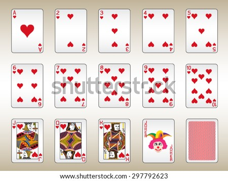 Hearts Playing Cards Set - stock vector