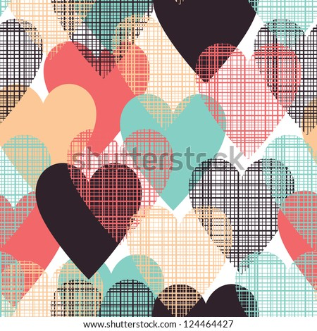 Hearts seamless pattern - stock vector