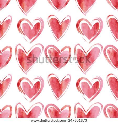 Hearts Seamless Pattern - stock vector