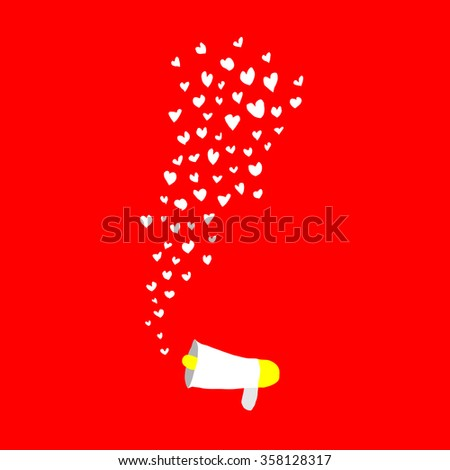 hearts shape flying out frome megaphone on red background - stock vector