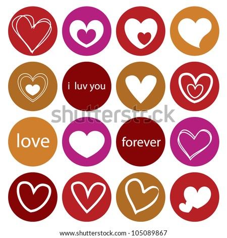 hearts shapes background in rounded icons - stock vector