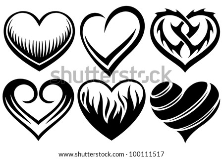 hearts tattoos - stock vector