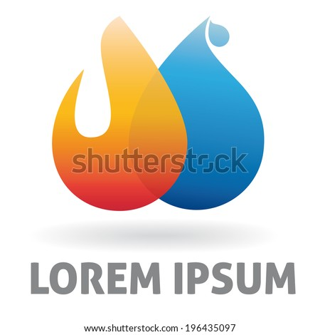 Heating and plumbing business logo design template. Vector design element with flame and water drop  - stock vector