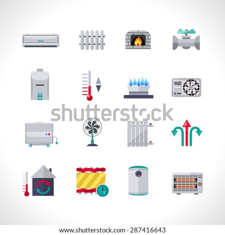 Heating icons set with household electric and air conditioning system symbols isolated vector illustration - stock vector