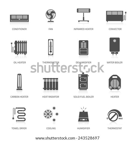Heating, ventilation and conditioning icons set. - stock vector