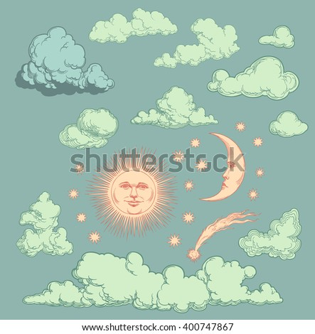 Heavenly Bodies. Design set. Hand drawn engraving. Vector vintage illustration. Isolated on color background. 8 EPS - stock vector