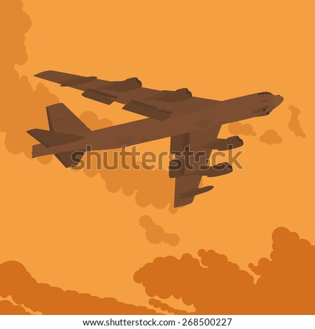 Heavy bomber against the sunset. Illustration suitable for advertising and promotion - stock vector