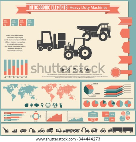 Heavy duty machines - infographic elements and icons set. - stock vector