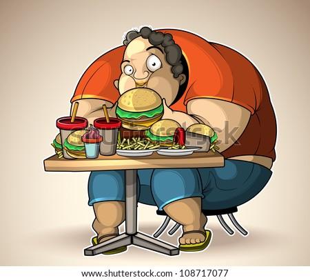 Heavy eater - stock vector