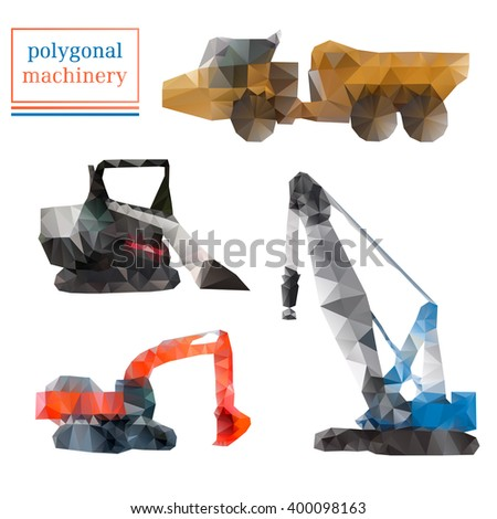 Heavy industry construction crane, articulated truck, excavator, compact track loader in polygonal style. Vector illustration of mining machinery, equipment. Transportation icons, silhouettes. - stock vector