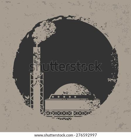 Heavy industry design on grunge background, grunge vector - stock vector