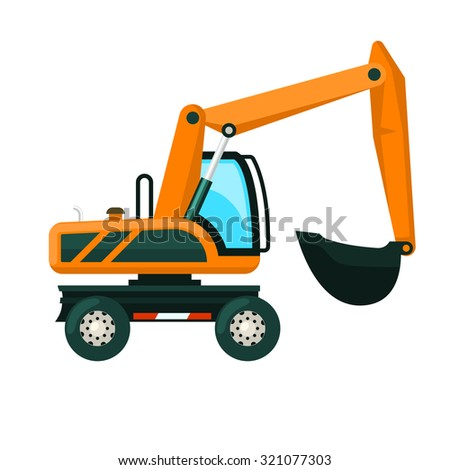 Heavy industry excavator machine with earth mover flat vector illustration - stock vector