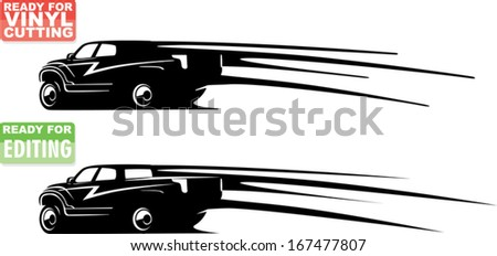 heavy pickup silhouette with speed lines - stock vector