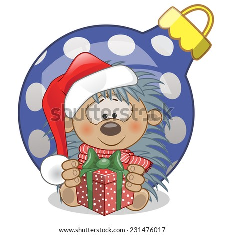 Hedgehog in a Santa hat with gift  - stock vector