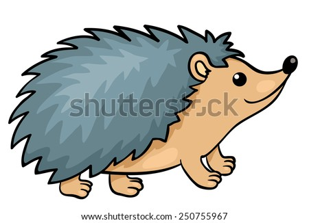 Hedgehog isolated on white. Vector cartoon illustration. - stock vector