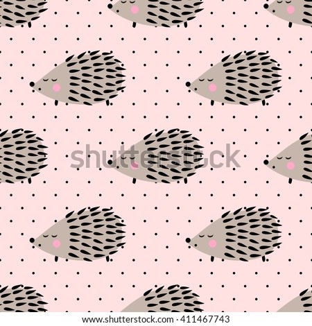 Hedgehog seamless pattern on pink polka dots background. Cute cartoon baby animal background. Child drawing style hedgehog illustration. Design for fabric and decor. - stock vector