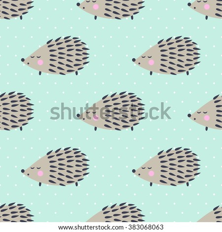Hedgehog seamless pattern on polka dots background. Cute cartoon animal background. Child drawing style hedgehog illustration. - stock vector
