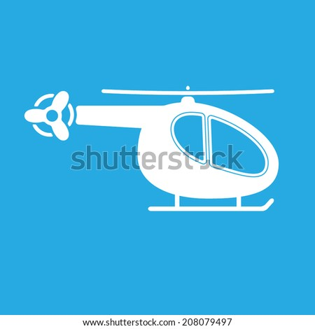 Helicopter Icon or sign. Vector silhouette. White on blue background.. - stock vector