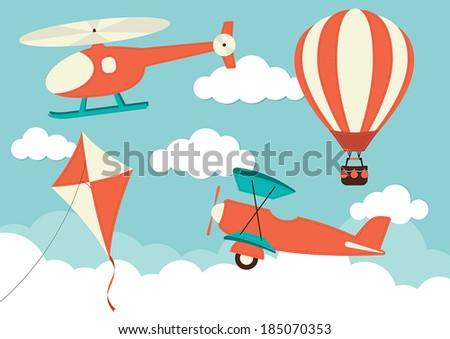 Helicopter, Plane, Kite & Hot Air Balloon  - stock vector