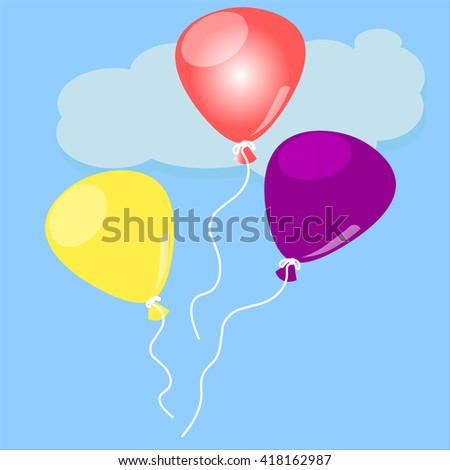 helium baloons in sky - stock vector