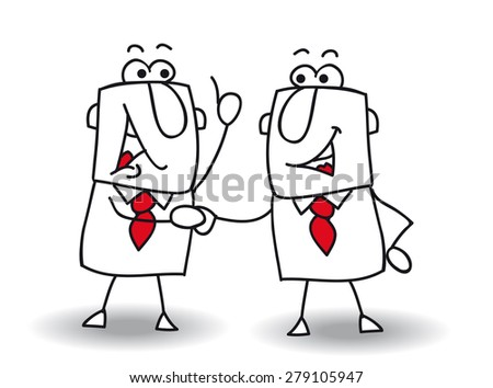 Hello boy. two businessmen shaking hands.It's ok ! I swear to you ! - stock vector