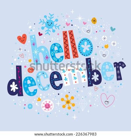 hello December - stock vector