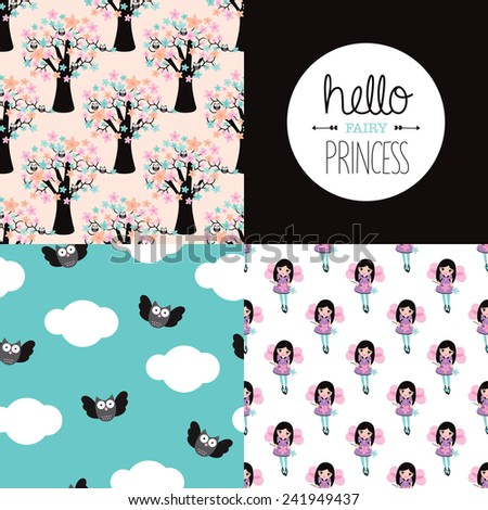 Hello fairy princess illustration background set wall decor with owls and trees background pattern set and text design in vector - stock vector