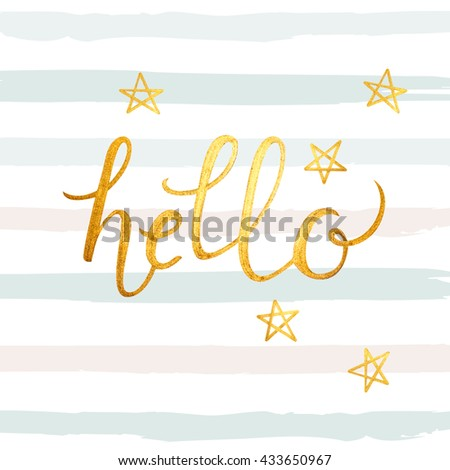 Hello gold foil abstract illustration - stock vector