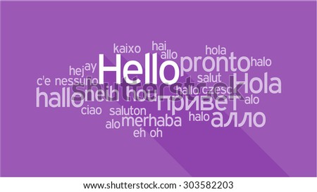 HELLO in different languages, words collage vector illustration - stock vector