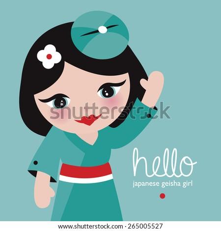 Hello japanese geisha girl adorable kids postcard cover design with waving kids illustration in vector - stock vector