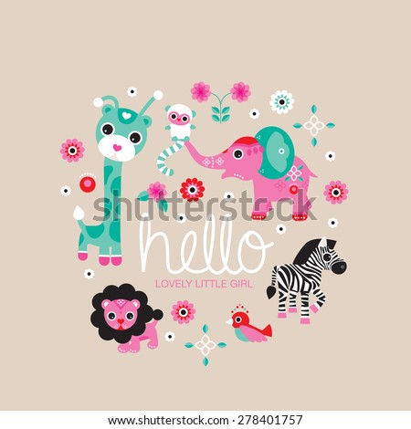 Hello little girl zoo and jungle animals postcard cover design for new born baby girls announcement or invitation  - stock vector